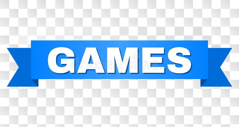 Blue Stripe with GAMES Text. GAMES text on a ribbon. Designed with white caption and blue tape. Vector banner with GAMES tag on a transparent background vector illustration