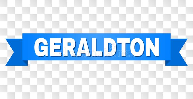 Blue Stripe with GERALDTON Caption. GERALDTON text on a ribbon. Designed with white caption and blue stripe. Vector banner with GERALDTON tag on a transparent vector illustration
