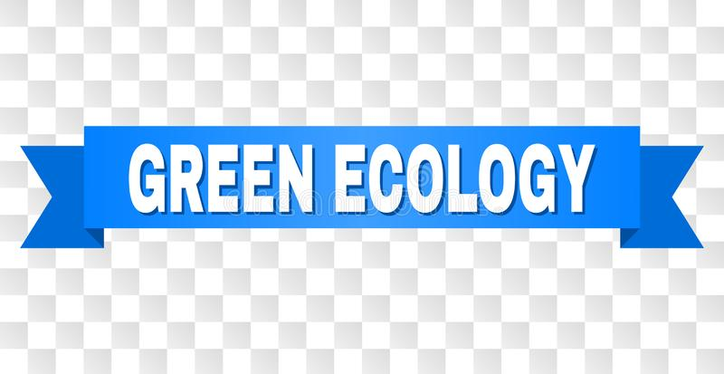 Blue Stripe with GREEN ECOLOGY Caption. GREEN ECOLOGY text on a ribbon. Designed with white caption and blue stripe. Vector banner with GREEN ECOLOGY tag on a vector illustration