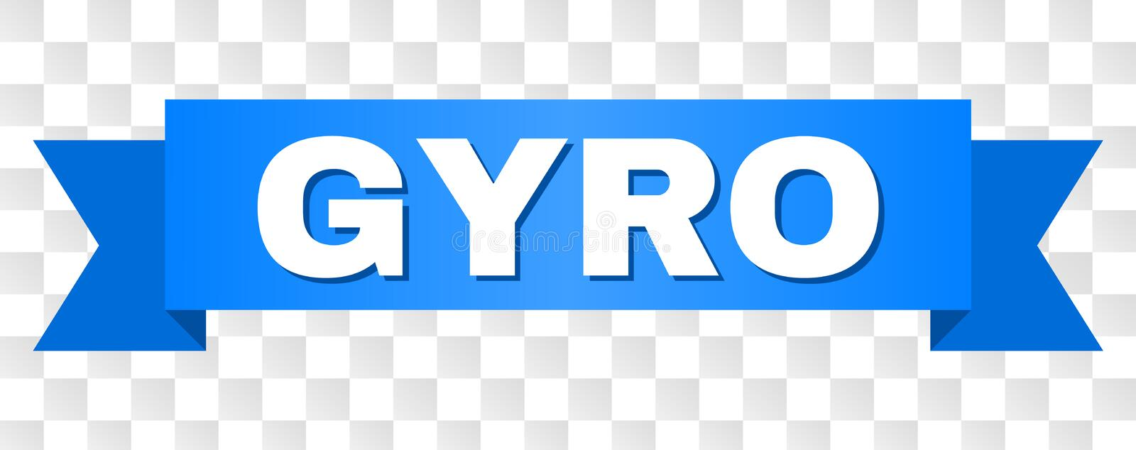 Blue Stripe with GYRO Title. GYRO text on a ribbon. Designed with white caption and blue stripe. Vector banner with GYRO tag on a transparent background royalty free illustration