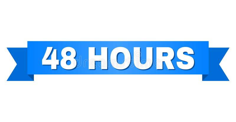 Blue Stripe with 48 HOURS Caption. 48 HOURS text on a ribbon. Designed with white caption and blue tape. Vector banner with 48 HOURS tag vector illustration
