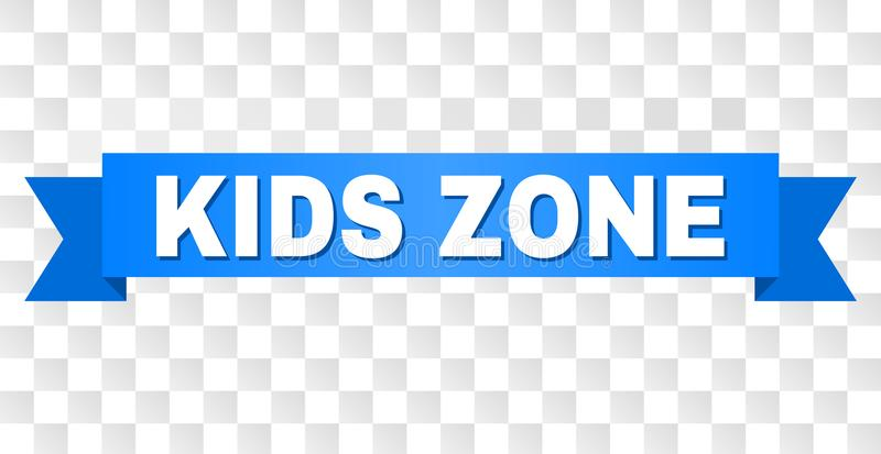 Blue Stripe with KIDS ZONE Caption. KIDS ZONE text on a ribbon. Designed with white caption and blue tape. Vector banner with KIDS ZONE tag on a transparent royalty free illustration