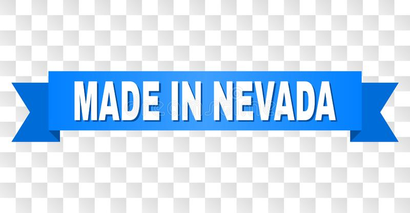 Blue Stripe with MADE IN NEVADA Caption. MADE IN NEVADA text on a ribbon. Designed with white caption and blue tape. Vector banner with MADE IN NEVADA tag on a royalty free illustration