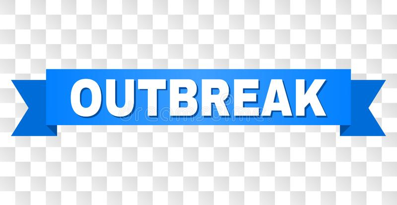 Blue Stripe with OUTBREAK Caption. OUTBREAK text on a ribbon. Designed with white caption and blue stripe. Vector banner with OUTBREAK tag on a transparent royalty free illustration