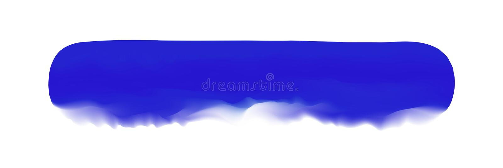 Blue stripe painted in watercolor on clean white background, blue watercolor brush strokes, illustration paint brush digital soft royalty free illustration