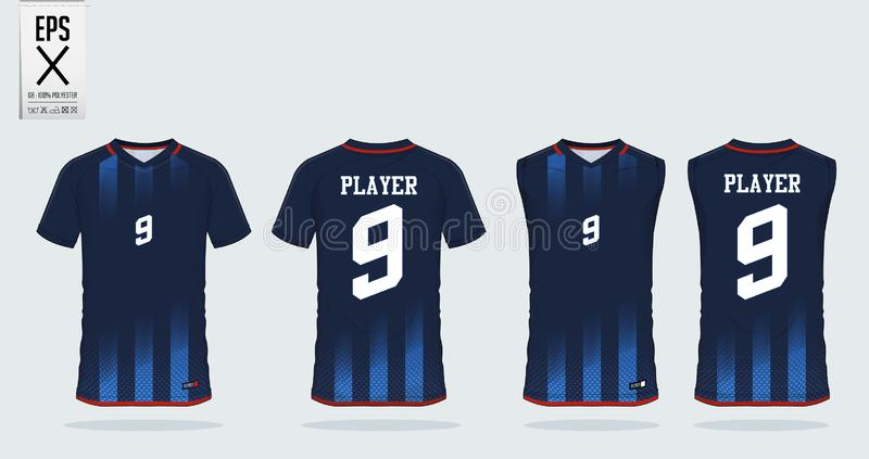 Blue stripe pattern t-shirt sport design template for soccer jersey, football kit and tank top for basketball jersey. vector illustration