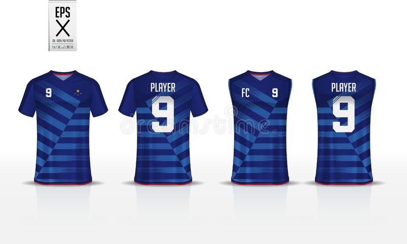 T-shirt sport design template for soccer jersey, football kit and tank top for basketball jersey. Uniform in front and back view. Blue stripe pattern t-shirt stock illustration