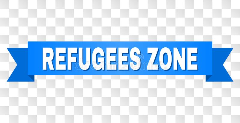 Blue Stripe with REFUGEES ZONE Caption. REFUGEES ZONE text on a ribbon. Designed with white caption and blue stripe. Vector banner with REFUGEES ZONE tag on a vector illustration