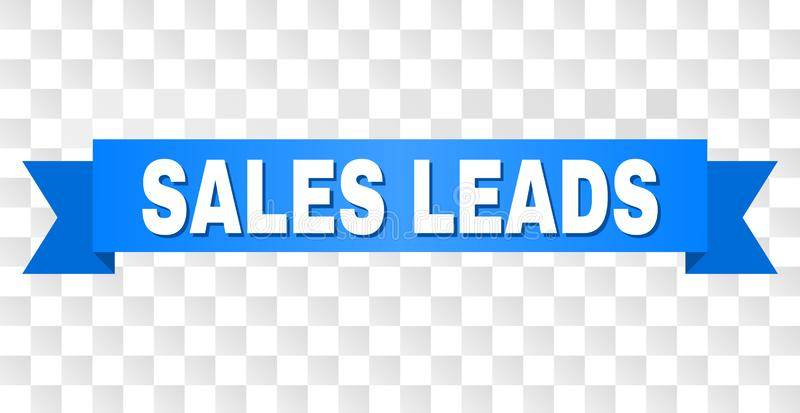 Blue Stripe with SALES LEADS Caption. SALES LEADS text on a ribbon. Designed with white caption and blue stripe. Vector banner with SALES LEADS tag on a royalty free illustration