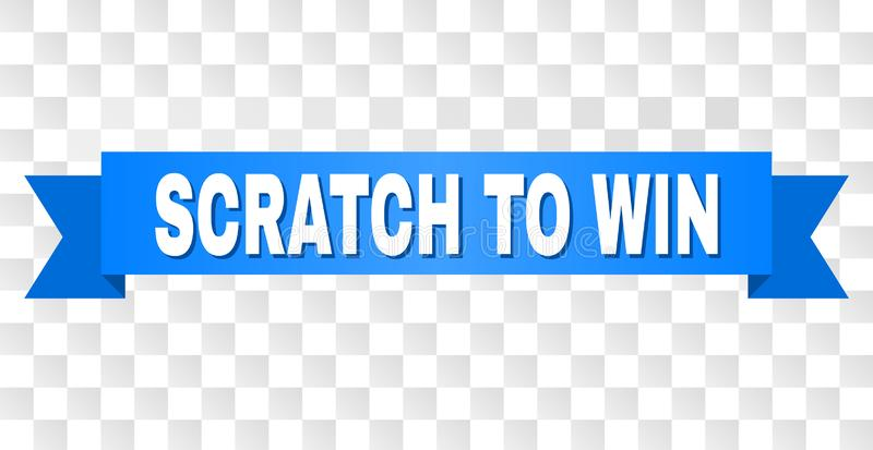 Blue Stripe with SCRATCH TO WIN Caption. SCRATCH TO WIN text on a ribbon. Designed with white caption and blue stripe. Vector banner with SCRATCH TO WIN tag on a royalty free illustration