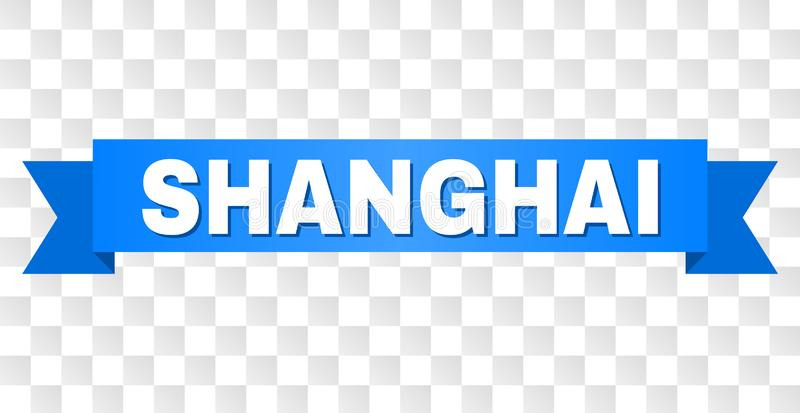 Blue Stripe with SHANGHAI Caption. SHANGHAI text on a ribbon. Designed with white caption and blue stripe. Vector banner with SHANGHAI tag on a transparent vector illustration