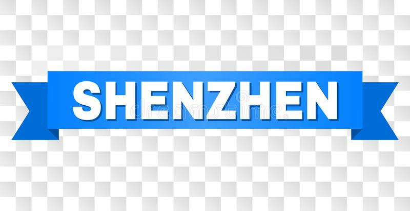 Blue Stripe with SHENZHEN Caption. SHENZHEN text on a ribbon. Designed with white caption and blue stripe. Vector banner with SHENZHEN tag on a transparent vector illustration