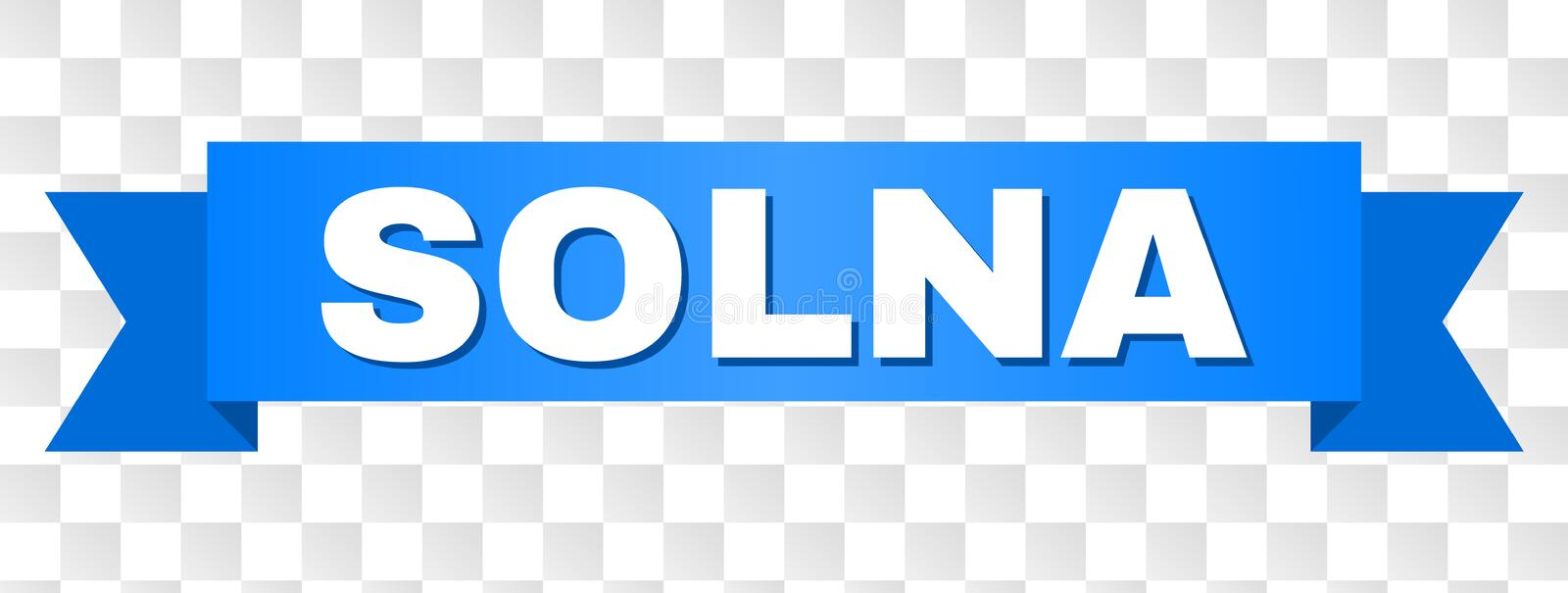 Blue Stripe with SOLNA Title. SOLNA text on a ribbon. Designed with white caption and blue stripe. Vector banner with SOLNA tag on a transparent background stock illustration