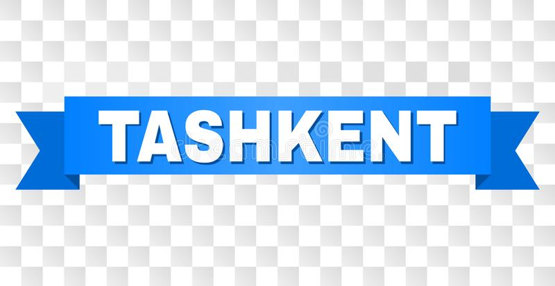 Blue Stripe with TASHKENT Caption. TASHKENT text on a ribbon. Designed with white caption and blue tape. Vector banner with TASHKENT tag on a transparent royalty free illustration