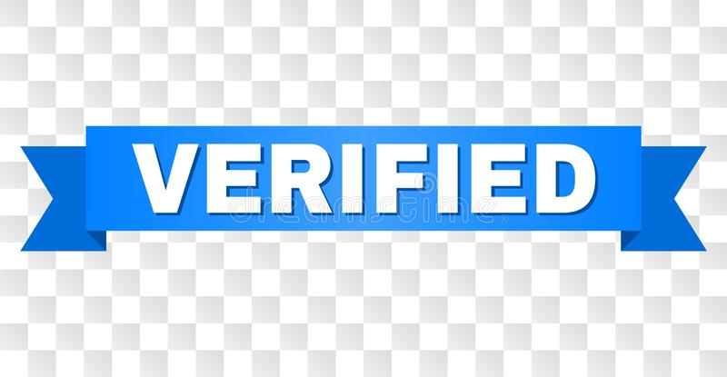 Blue Stripe with VERIFIED Caption. VERIFIED text on a ribbon. Designed with white caption and blue stripe. Vector banner with VERIFIED tag on a transparent royalty free illustration