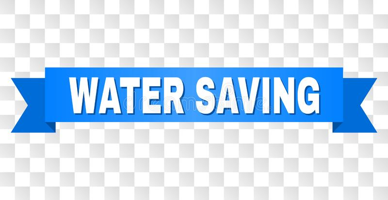 Blue Stripe with WATER SAVING Caption. WATER SAVING text on a ribbon. Designed with white caption and blue stripe. Vector banner with WATER SAVING tag on a stock illustration