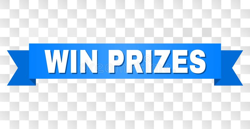 Blue Stripe with WIN PRIZES Caption. WIN PRIZES text on a ribbon. Designed with white caption and blue stripe. Vector banner with WIN PRIZES tag on a transparent vector illustration