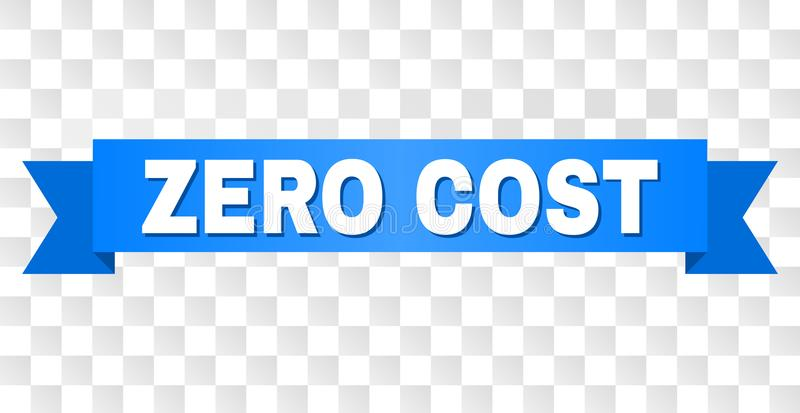Blue Stripe with ZERO COST Caption. ZERO COST text on a ribbon. Designed with white caption and blue stripe. Vector banner with ZERO COST tag on a transparent vector illustration