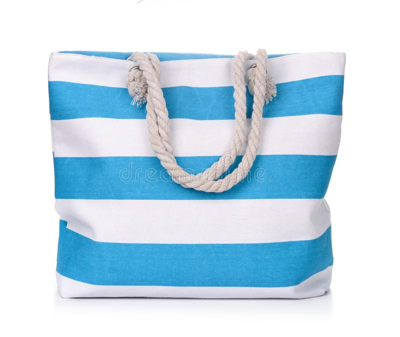 Blue striped beach bag stock images