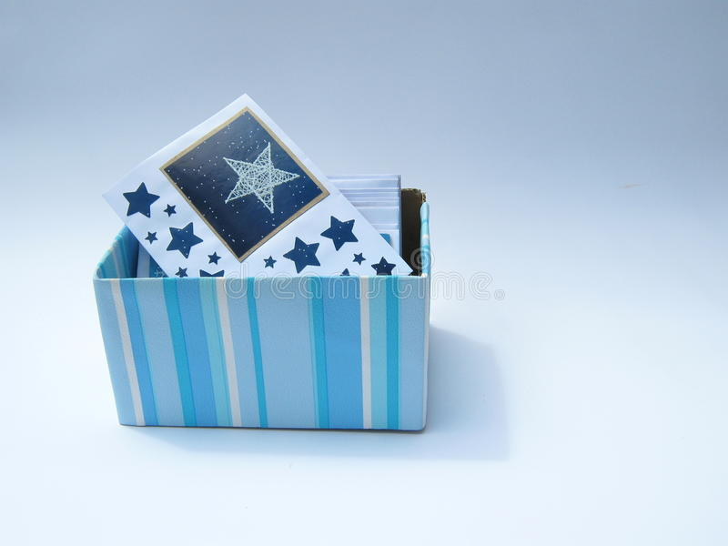 Blue striped box with cards