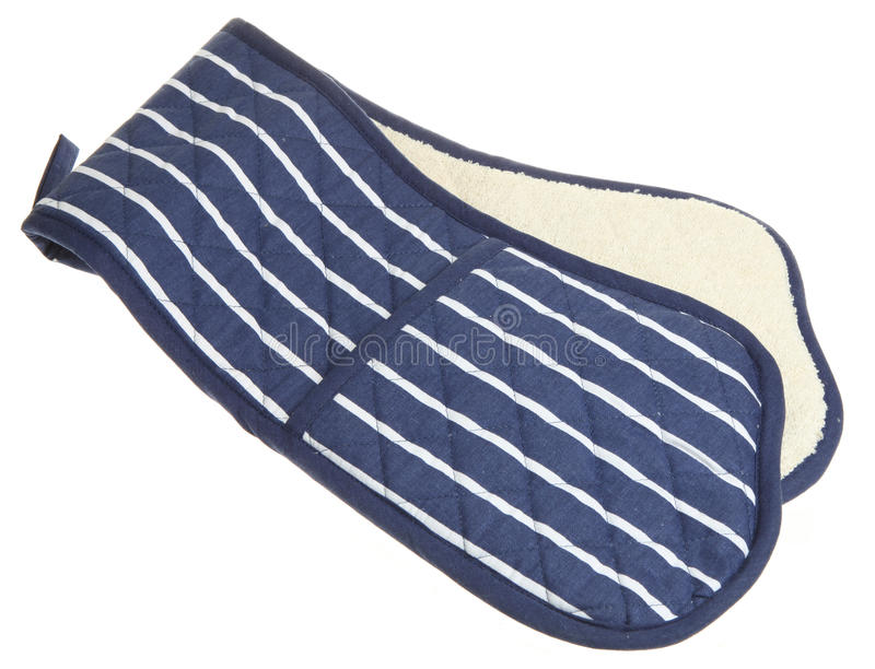 Blue Striped Double Oven Glove Stock Image