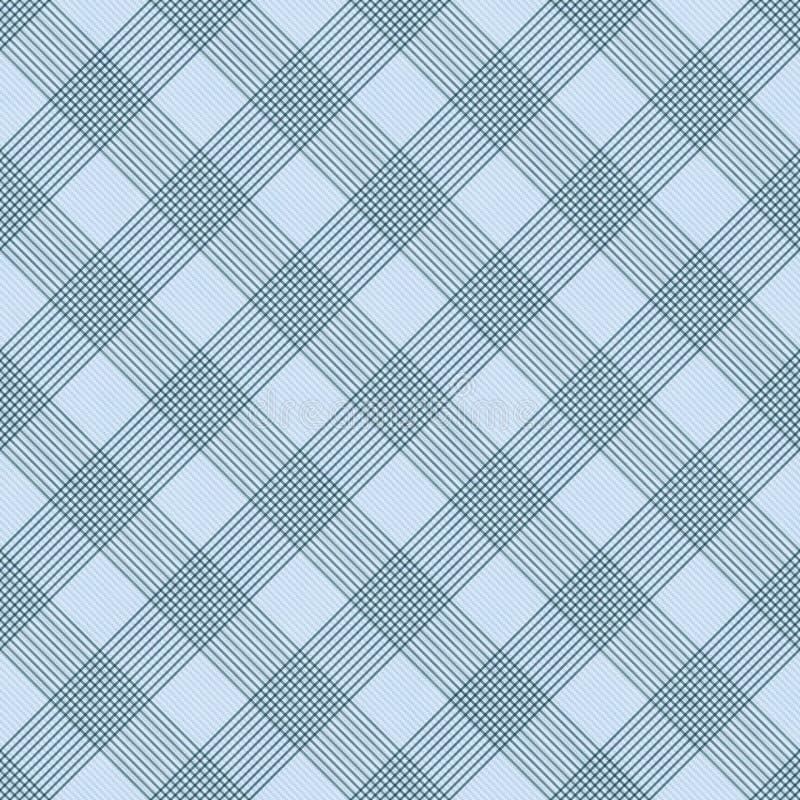 Blue Striped Gingham Tile Pattern Repeat Background stock illustration
