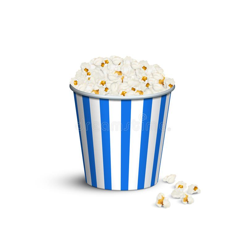 Blue striped popcorn bucket. Vector popcorn box. stock illustration