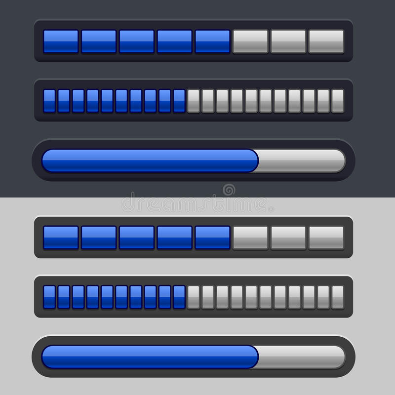 Blue Striped Progress Bar Set stock illustration