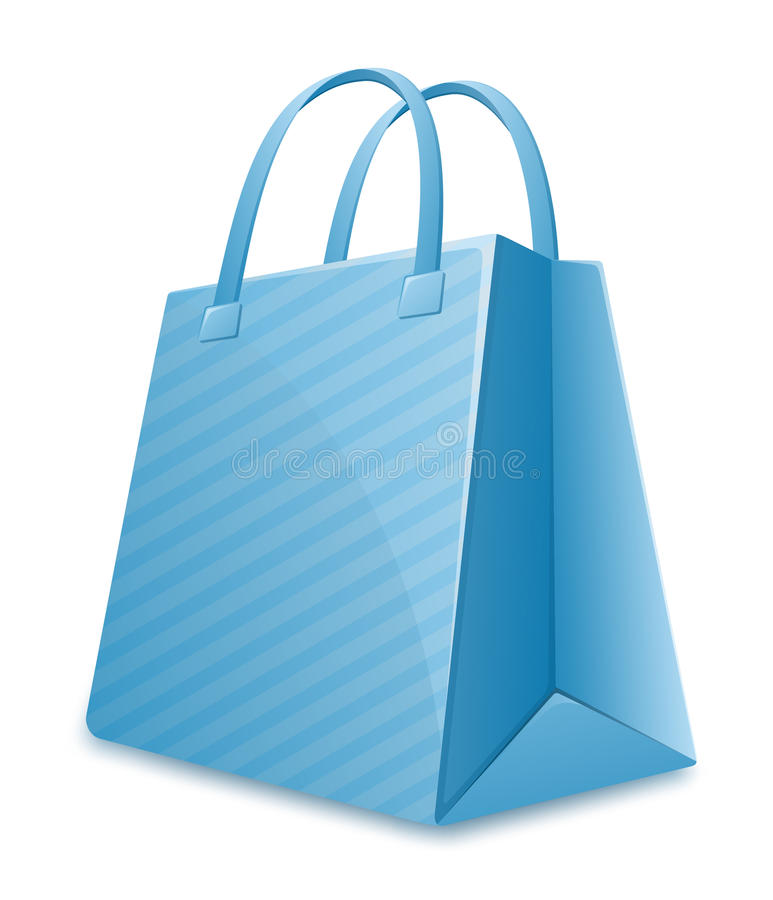 Download Blue striped shopping bag stock vector. Image of blue - 15240876