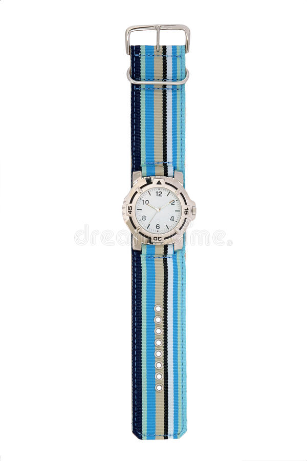Blue striped watch stock photos