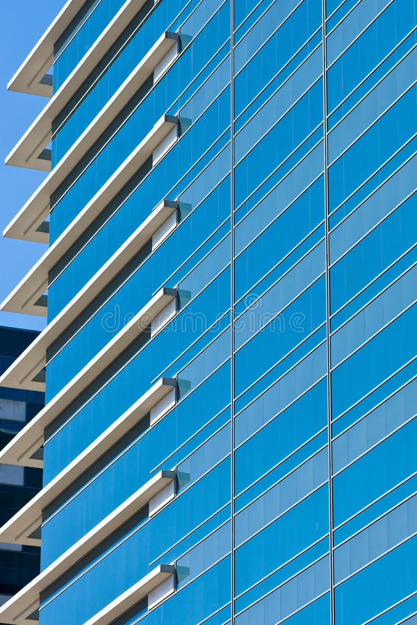 Blue Striped Windows With White Corners Stock Photos