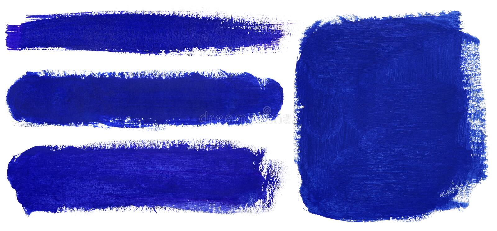 Blue strokes of gouache paint brush royalty free stock photography
