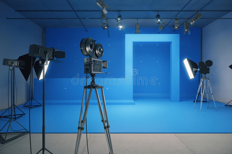 Blue style decoration for movie filming with vintage cameras royalty free stock photography