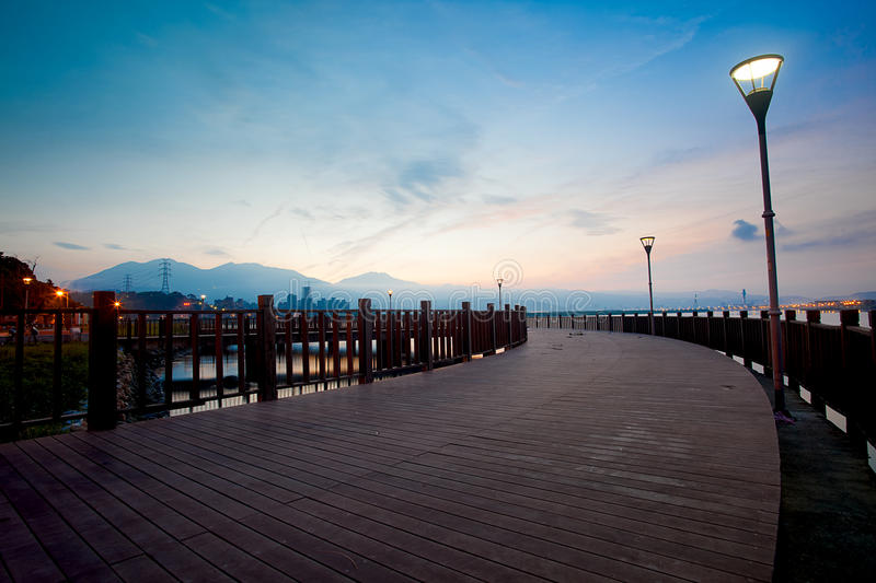 Blue style Tamsui Sunset, new Taipei, Taiwan stock images