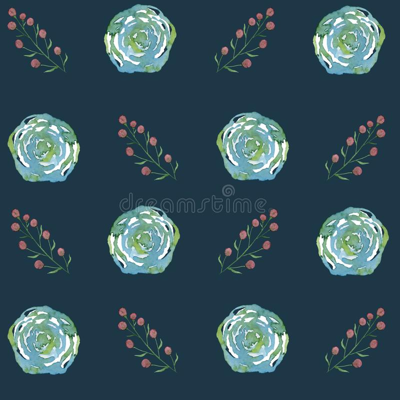Blue stylized roses and branches with berries. Watercolor illustration on a dark blue background. For invitation, cards, print on fabric and other design vector illustration
