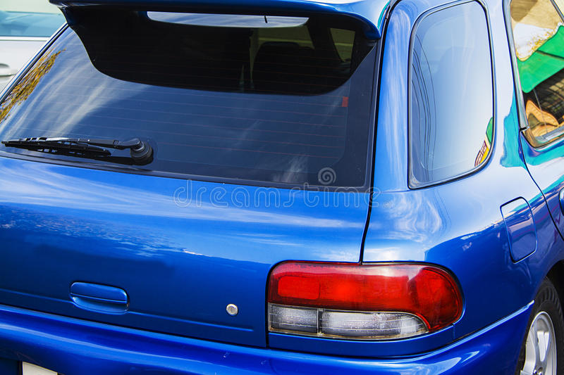Blue subaru impreza royalty free stock photography