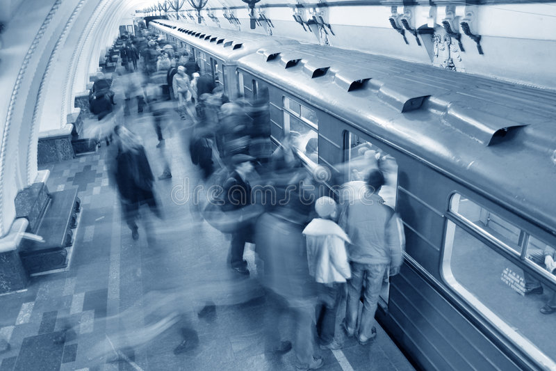 Blue Subway Crowd Royalty Free Stock Photography
