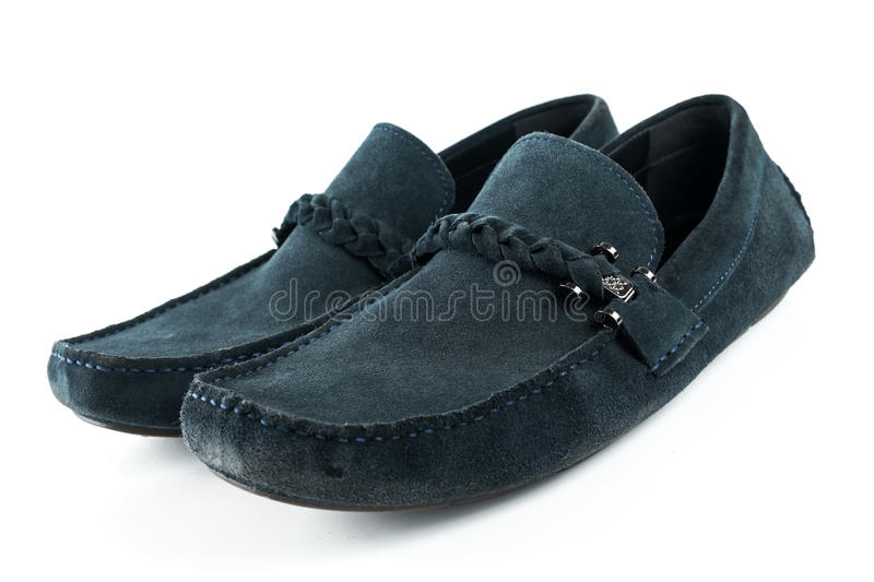 Blue suede men shoes on white isolated royalty free stock photo