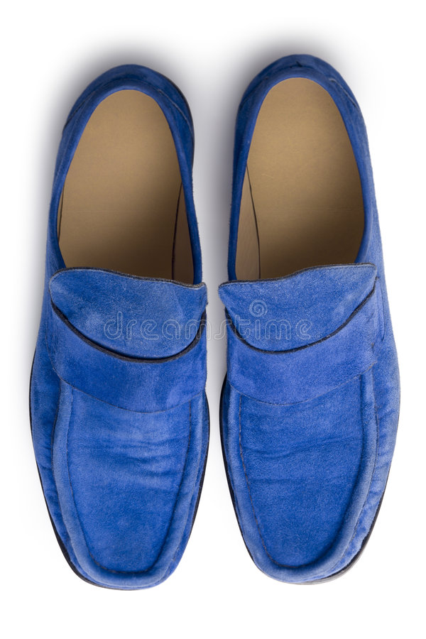 Blue suede shoes from above royalty free stock images