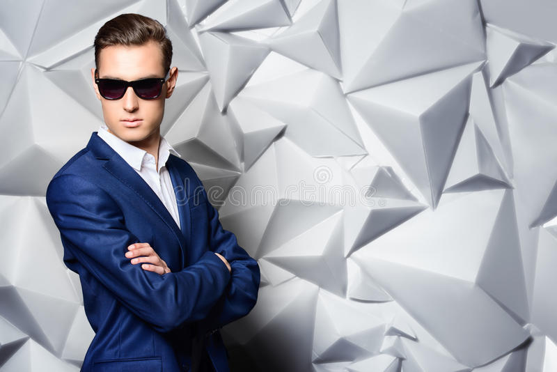 Blue suit royalty free stock photo