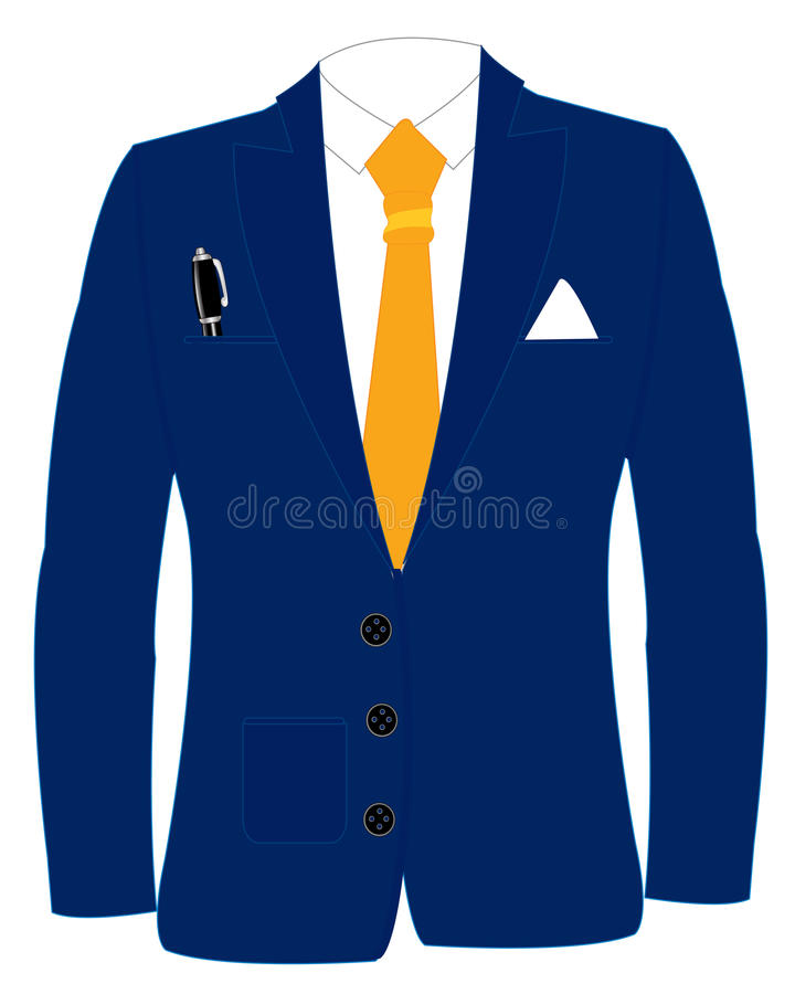 Blue suit and tie. Blue suit with tie on white background is insulated royalty free illustration