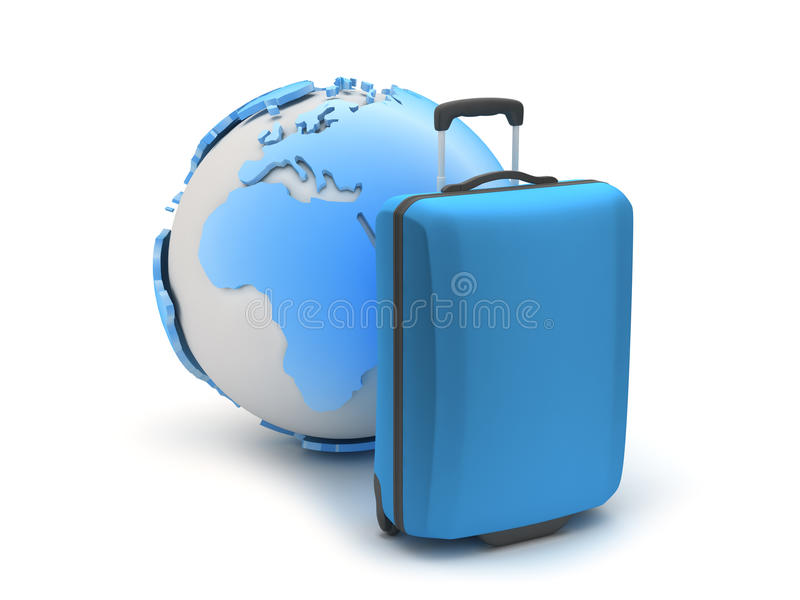 Download Blue Suitcase And Earth Globe Stock Illustration - Illustration of rest, render: 39510682