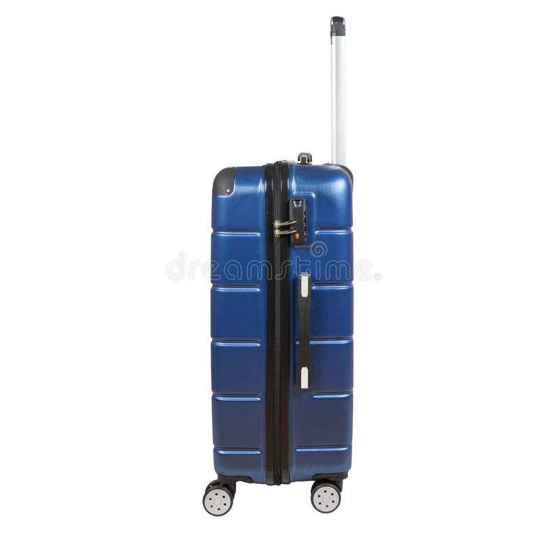 Blue suitcase isolated on white background. royalty free stock images