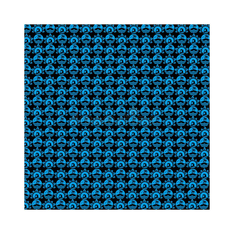 Blue Summer Batik seamless vector background for fashion textile print. royalty free stock images
