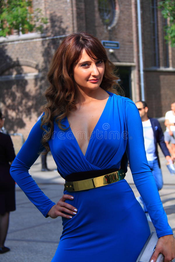 Blue summer dress street fashion amsterdam royalty free stock image