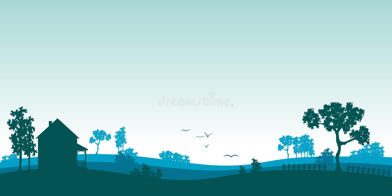 Blue Summer landscape royalty free illustration