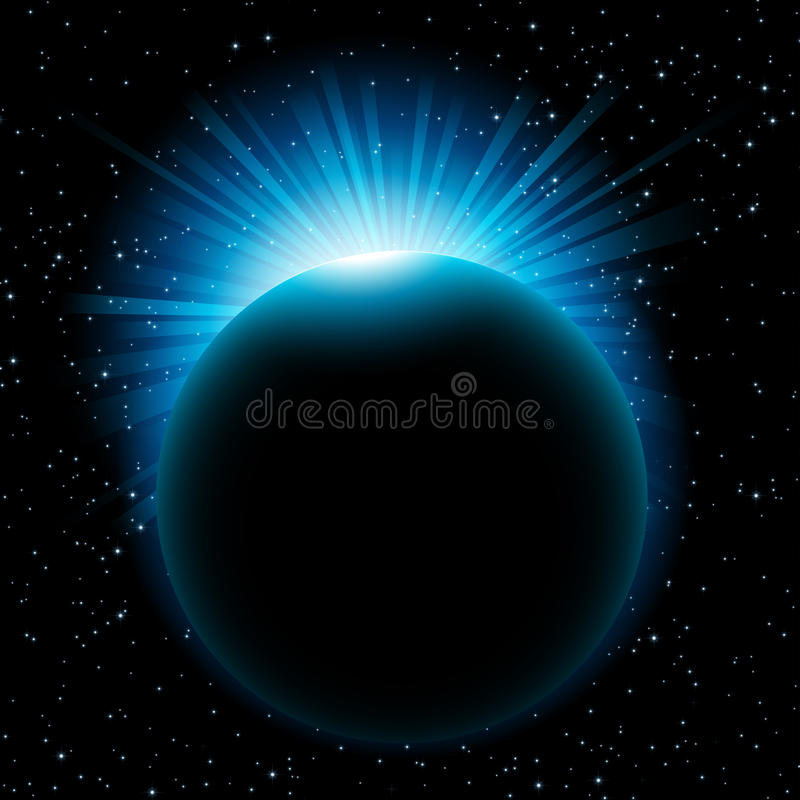 Download Blue sun beams over planet stock vector. Illustration of mysterious - 26342087