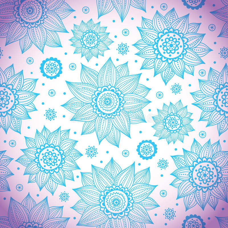 Blue Sunflower Pattern Royalty Free Stock Photo
