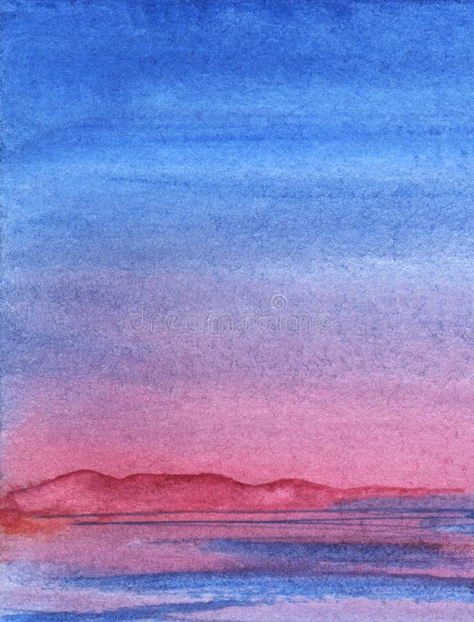 Free Blue Sunset Landscape. Mountains Evening. Silhouettes Of Purple Pink Mountains On Far Side Of Lake Or River. Hand-drawn Abstract Royalty Free Stock Photo - 166124755