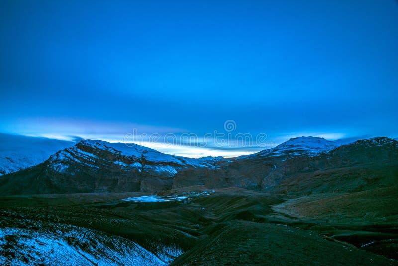 Blue Sunset - Langza Village, Spiti Valley, Himachal Pradesh stock photo